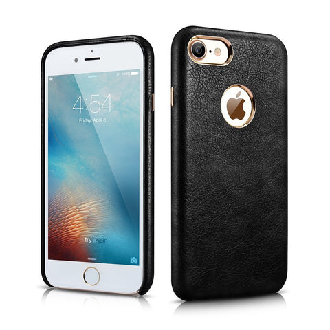 MTT Apple iPhone 7 Premium Leather Back Cover Case (Black)