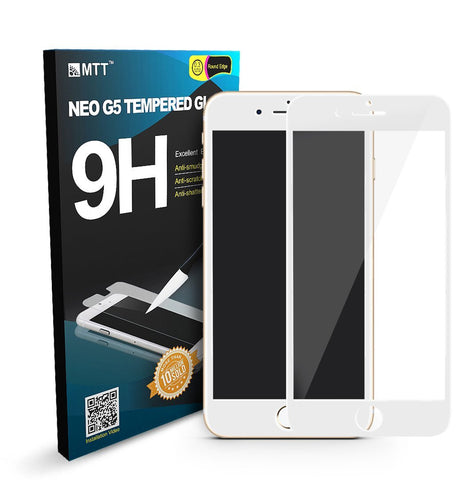 MTT Apple iPhone 7 3D Full Body Premium Quality Tempered Glass Screen Protector Guard (White)