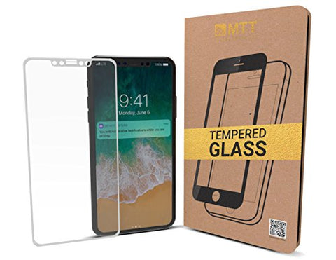 MTT Apple iPhone X 3D Full Body Premium Quality Tempered Glass Screen Protector Guard (White)