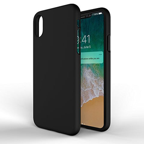 MTT Silicon Rubber Texture Thin Fit Protective Case Cover for Apple iPhone X (Black)