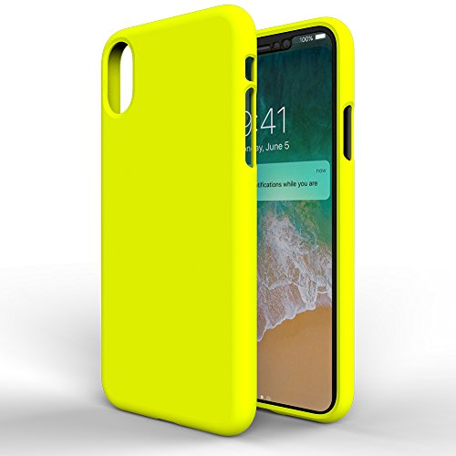 MTT Silicon Rubber Texture Thin Fit Protective Case Cover for Apple iPhone X (Yellow)