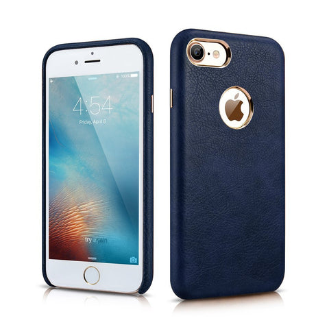 MTT Apple iPhone 7 Premium Leather Back Cover Case (Blue)