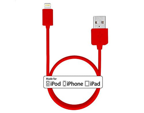 MTT Lightning to USB Cable 3ft / 1m with Ultra-Compact Connector Head for iPhone 6 6Plus 5s 5c 5, iPad Air Air2 mini mini2 mini3, iPad 4th gen, iPod touch 5th gen, and iPod nano 7th gen (RED)
