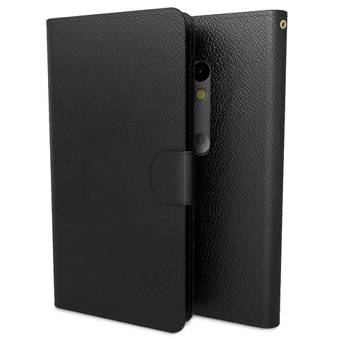 Premium PU Leather Wallet Case Cover for Motorola Moto X Play - Black