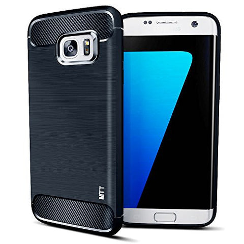 MTT Shock Absorption Carbon Fiber Armor Back Case Cover for Samsung Galaxy S7 Edge (Navy)