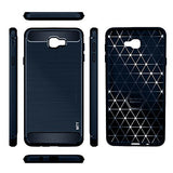MTT Shock Absorption Carbon Fiber Armor Back Case Cover for Samsung Galaxy J7 Prime (Navy)