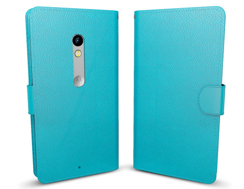 MTT Premium PU Leather Wallet Case for Motorola Moto X Style - Blue