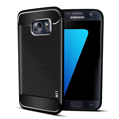 MTT Shock Absorption Carbon Fiber Armor Back Case Cover for Samsung Galaxy S7 (Black)