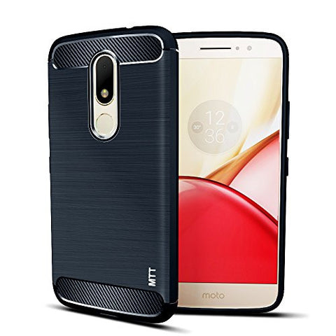 MTT Shock Absorption Carbon Fiber Armor Back Case Cover for Moto M (Navy)
