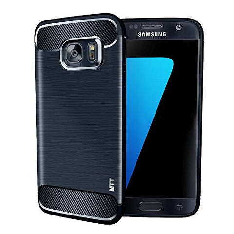 MTT Shock Absorption Carbon Fiber Armor Back Case Cover for Samsung Galaxy S7 (Navy)