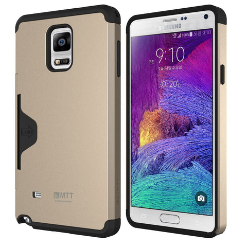 Galaxy Note 4 Case - MTT® GOLF FIT [Dual Layer] [Credit Card Holder] [Heavy Drop Protection] - Ultimate protection from drops and impact - Champagne Gold