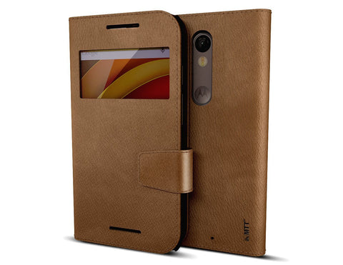 MTT Premium PU Leather Wallet Case for Moto X Force (Brown)