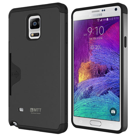 Galaxy Note 4 Case - MTT® GOLF FIT [Dual Layer] [Credit Card Holder] [Heavy Drop Protection] - Ultimate protection from drops and impact - Dark Silver