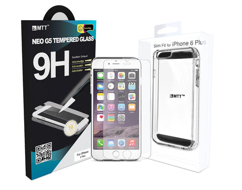 Combo Offer - MTT® NEO iPhone 6S Plus / 6 Plus Tempered Glass + Non Slip Clear Transparent Premium Case