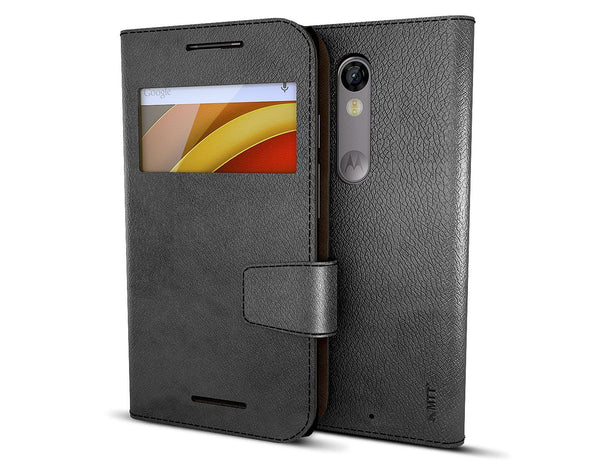 MTT Premium PU Leather Wallet Case for Moto X Force (Black)