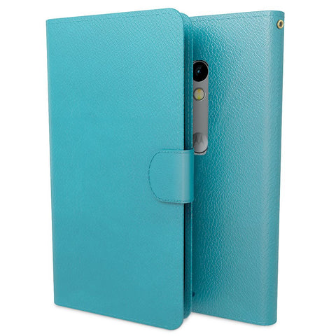 Premium PU Leather Wallet Case Cover for Motorola Moto X Play - Blue