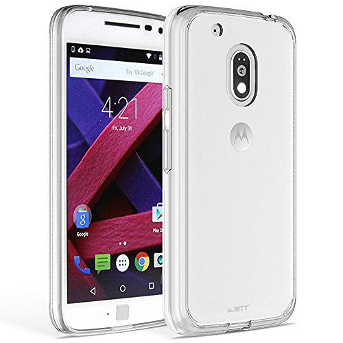 MTT® Shock Absorption Dual Layer PC + TPU Case Cover for Moto G4 Play (Transparent)