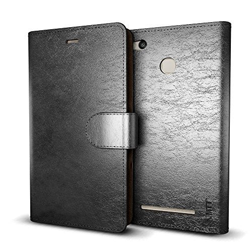 MTT® Premium PU Leather Flip Wallet Case Cover with Card Slot for Redmi 3S Prime / Redmi 3S (Black)