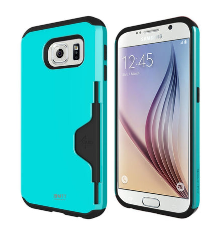MTT Shock Absorption Credit Card Holder for Samsung Galaxy S6 - [Mint]