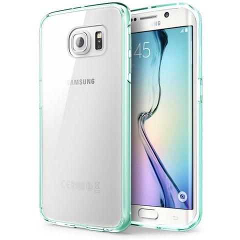 MTT® Samsung Galaxy S6 Edge Case - NON SLIP NEO FIT [Dual Layer] [Clear Case ] [ Drop Protection] [ Anti Scratch ] - Ultimate protection from drops and impact for Samsung Galaxy S6 Edge -[AQUA GREEN]