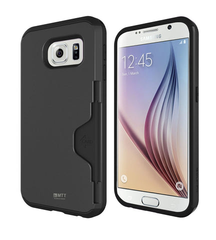 MTT  Shock Absorption Credit Card Holder for Samsung Galaxy S6 - [Dark Silver]