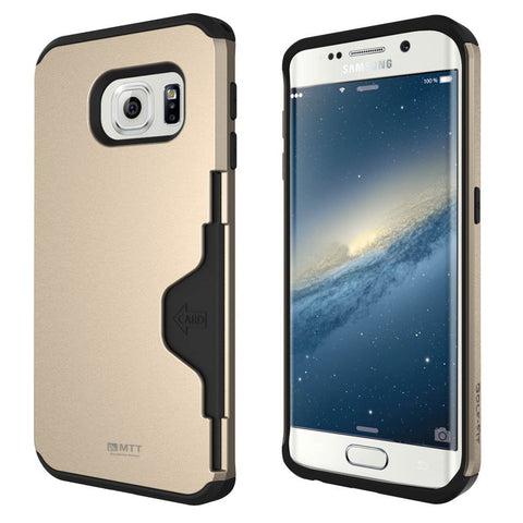 MTT Shock Absorption Credit Card Holder for Samsung Galaxy S6 Edge - [Gold]