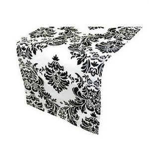 White & Black Damask Table Runner