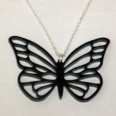 Butterfly Necklace - Black Acrylic 4cm x 2.5cm and Silver Plated 18inch Chain