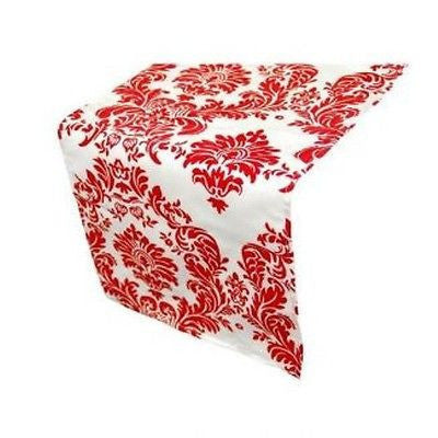 White & Red Damask Table Runner
