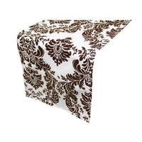 White & Chocolate Brown Damask Table Runner