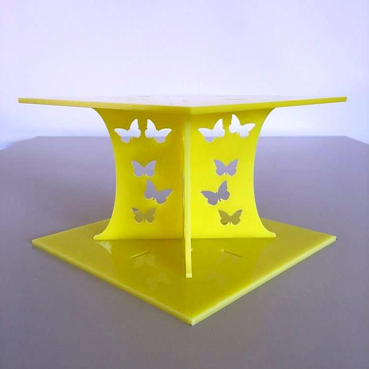Butterfly Square Wedding/Party Cake Separator - Yellow