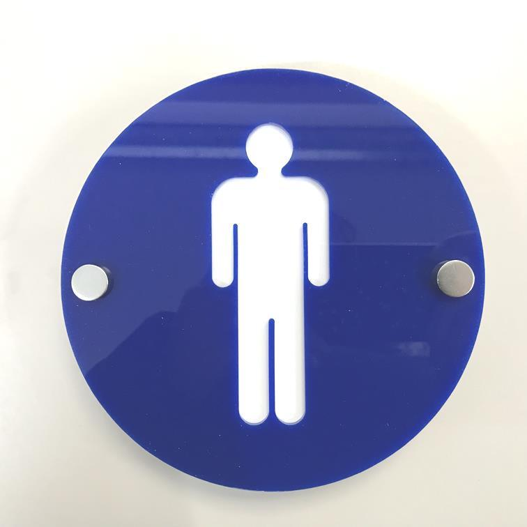 Round Male Toilet Sign - Blue & White Gloss Finish