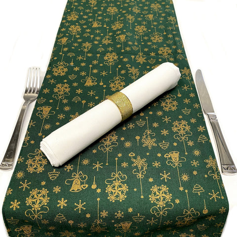 Forest Green & Gold Christmas Table Runners