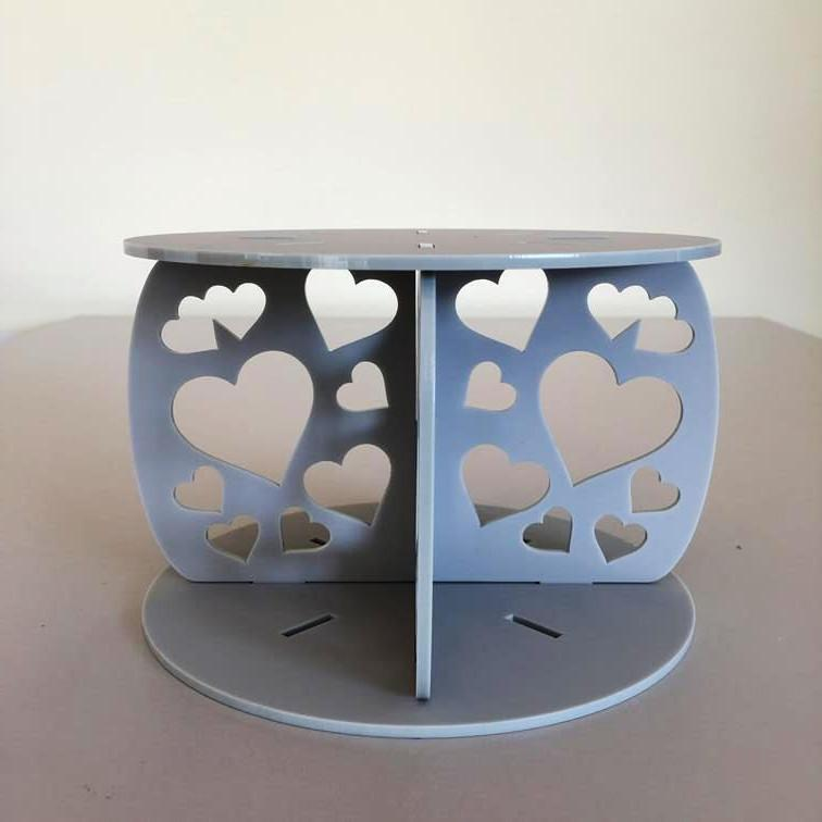 Heart Design Round Wedding/Party Cake Separator - Light Grey