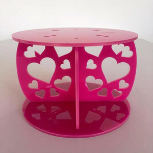 Heart Design Round Wedding/Party Cake Separator - Pink