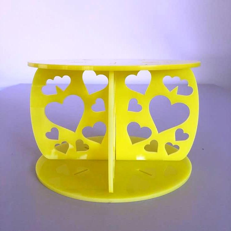 Heart Design Round Wedding/Party Cake Separator - Yellow
