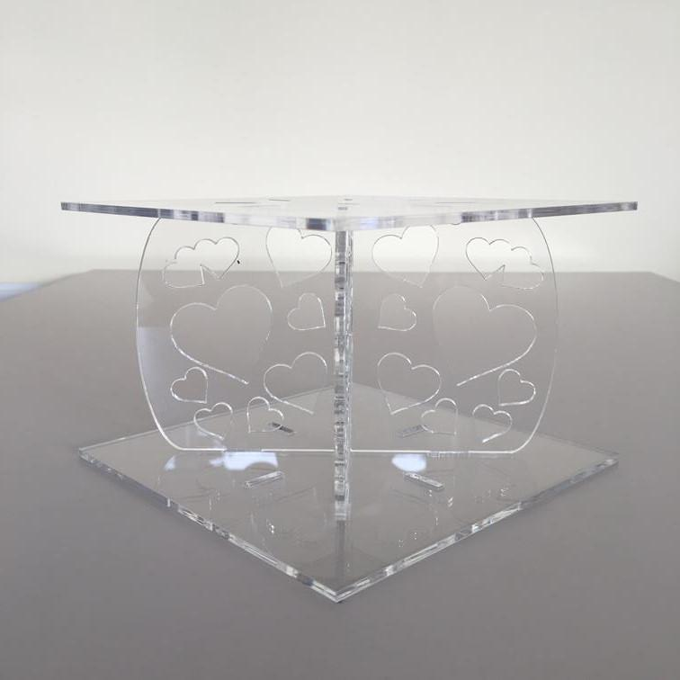 Heart Design Square Wedding/Party Cake Separator - Clear