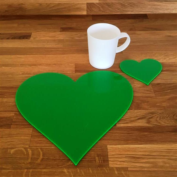 Heart Shaped Placemat and Coaster Set - Bright Green