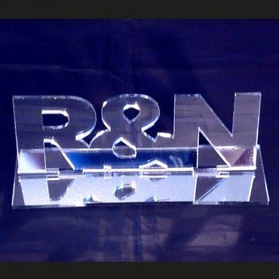Name(s) or Initials Acrylic Mirror Table Stand FREE P&P