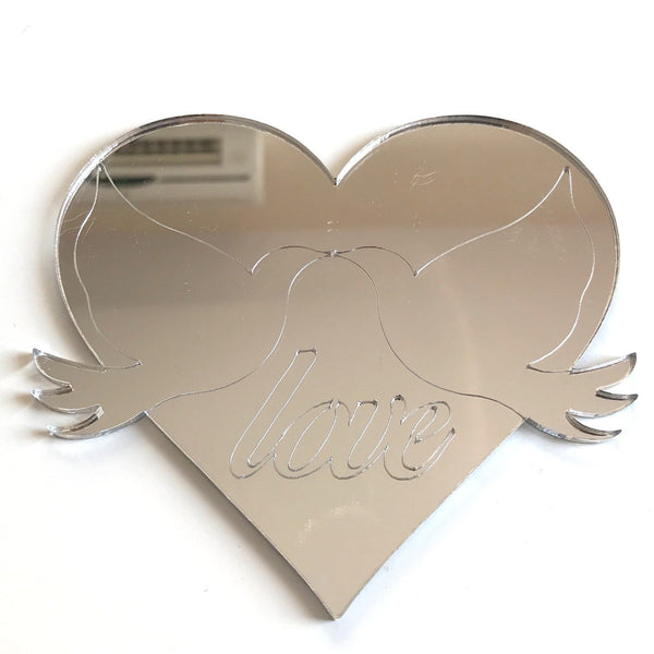 Heart & Doves Love Etched Mirrors