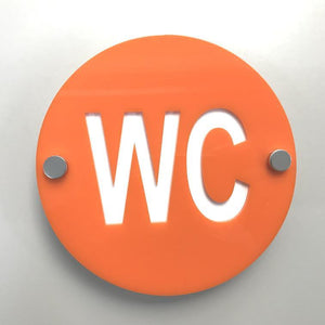 Round WC Toilet Sign - Orange & White Gloss Finish