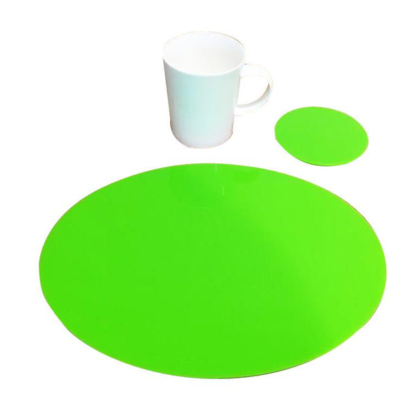 Oval Placemat and Coaster Set - Lime Green
