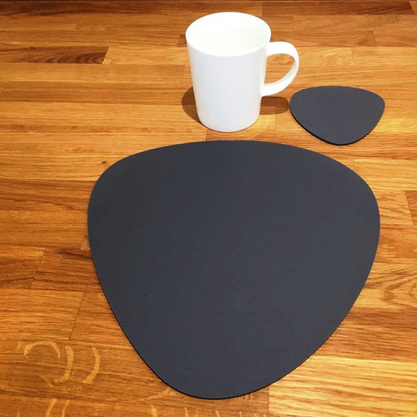 Pebble Shaped Placemat and Coaster Set - Graphite Grey