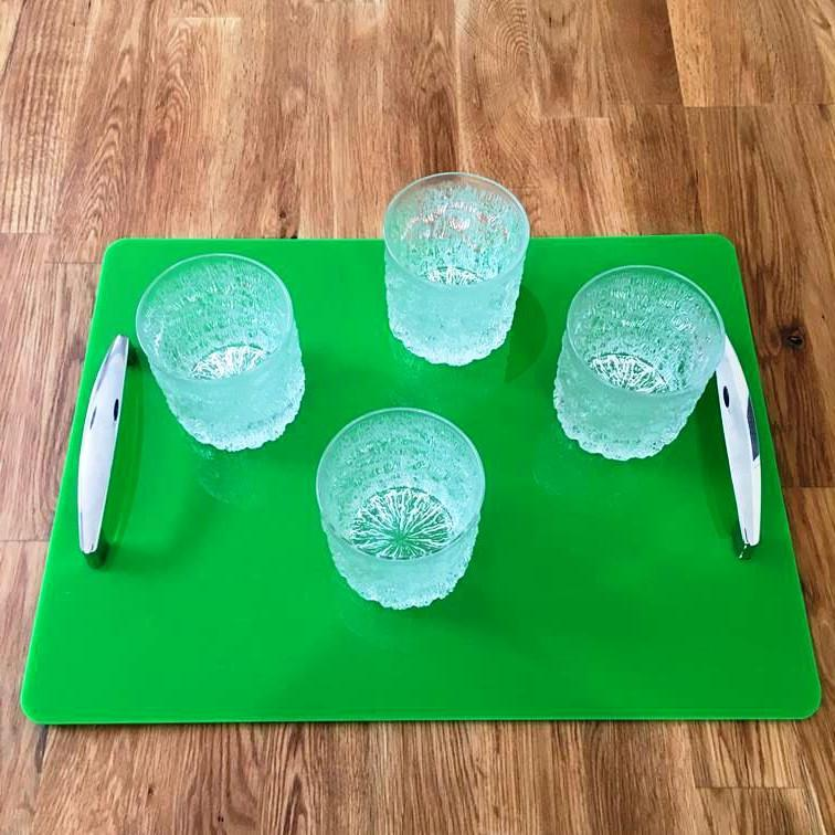 Rectangular Serving Tray with Handle - Bright Green