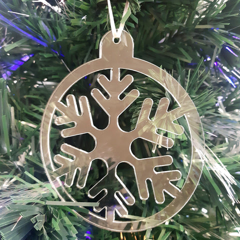 Round Snowflake Christmas Tree Decorations