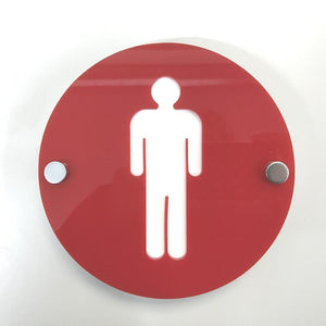Round Male Toilet Sign - Red & White Gloss Finish