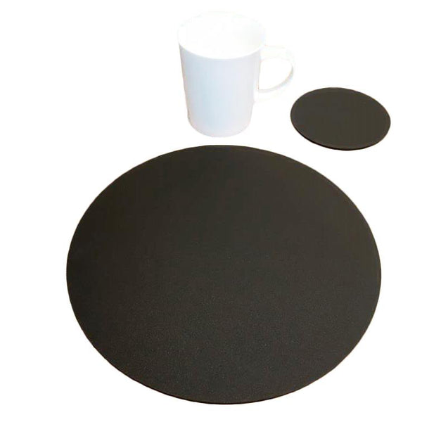 Round Placemat and Coaster Set - Mocha Brown