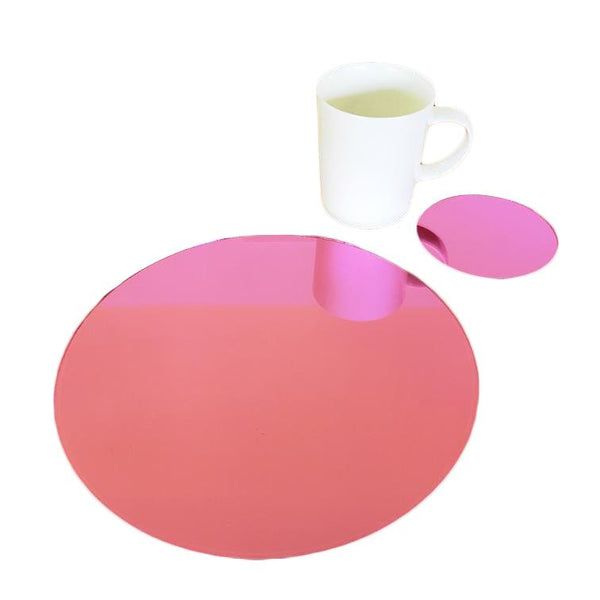 Round Placemat and Coaster Set - Pink Mirror