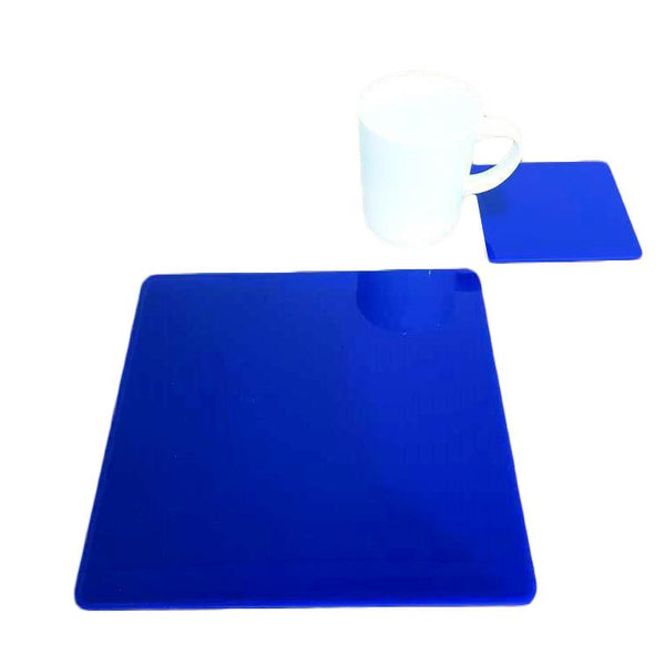 Square Placemat and Coaster Set - Blue