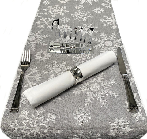 Silvery Grey & White Snowflake Christmas Table Runners